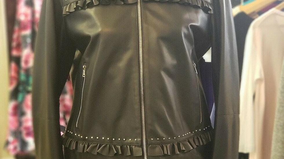 Ladies MARELLA Italian Leather Ruffle Moto Jacket 2 Way Zip Black NEW