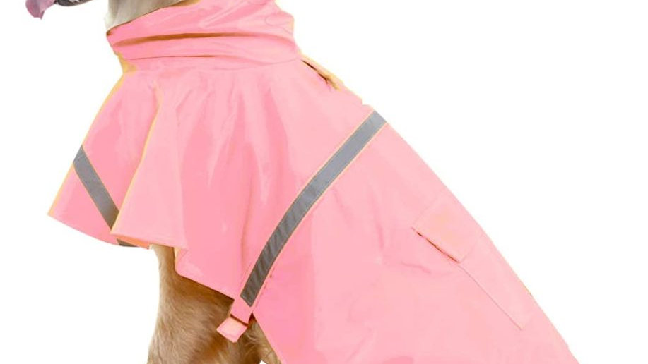 Raincoat for Large Dog with Reflective Strip / Hoodie / Pocket