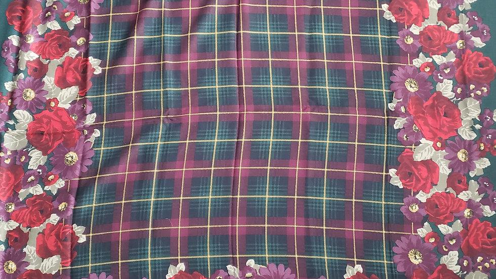 Lands End Plaid Floral Wool Frayed Edge Scarf Shawl Wrap  50 x 50 ❤