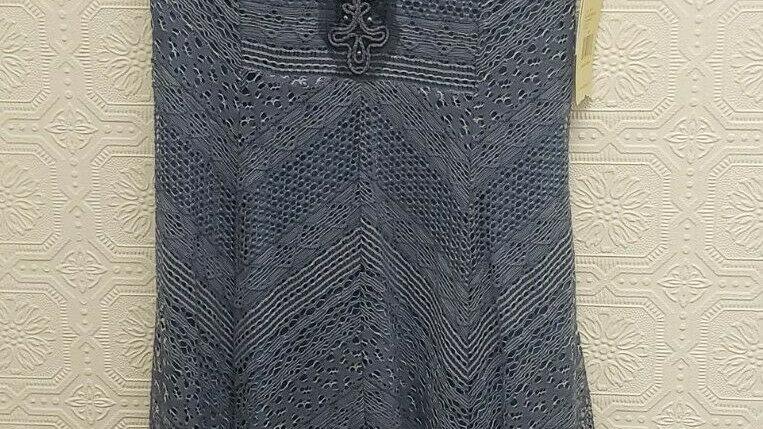 Reba Slate Blue Island Breeze Round Neck Cap Sleeve Jagged Hem Dress