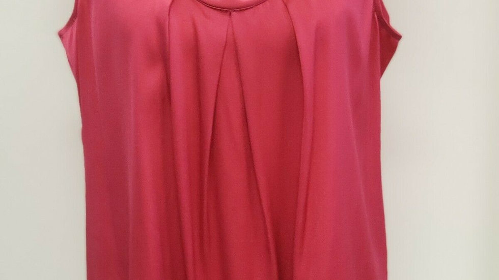 Talbots Pink Pleated Front Silk Round Neck Sleeveless Shell Top