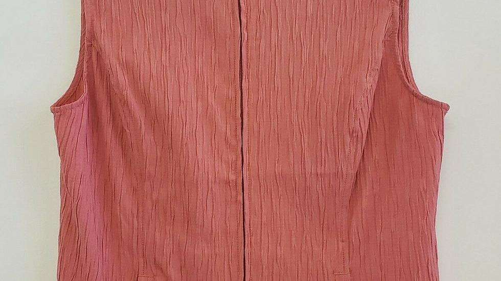 Christopher Banks Coral Mock Neck Zip Front Textured Vest