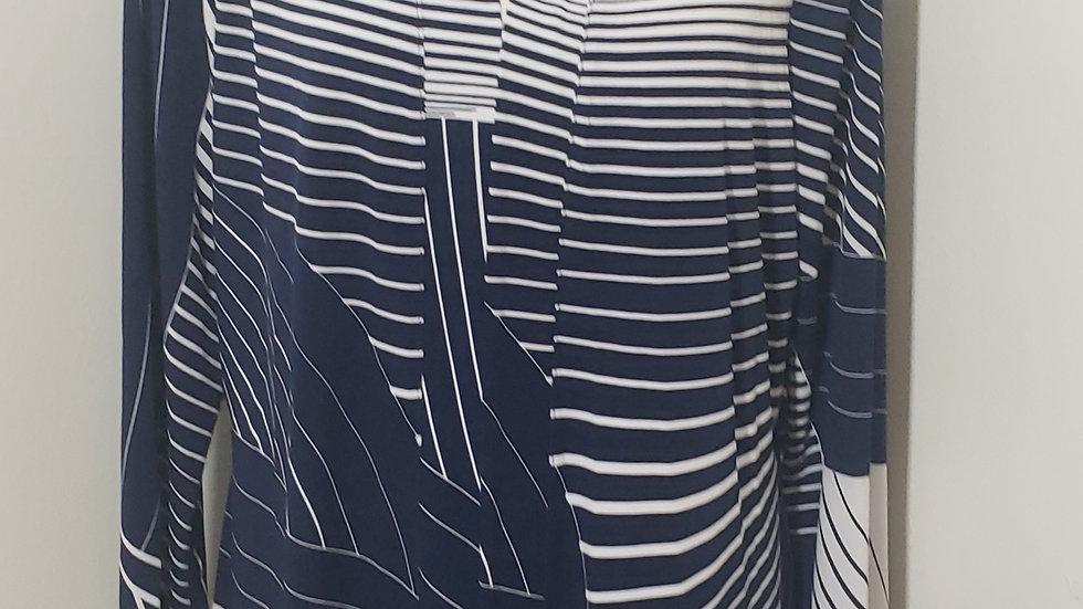 Susan Graver Blue White Open Front Liquid Knit Long Sleeve Cardigan