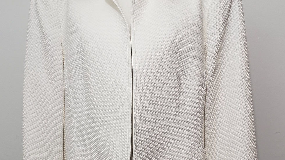 Nina Mclemore White Cotton Open Front Silk Lining Long Sleeve Jacket