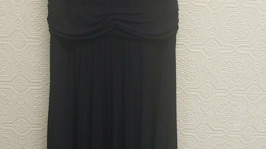 Suzi Chin by Maggie Boutique Dark Blue Pleated V Neck Empire Dress