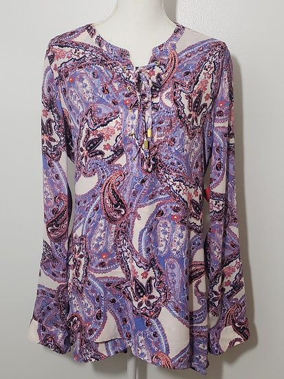 Purple Paisley Lace Up Y Neck Long Sleeve Blouse
