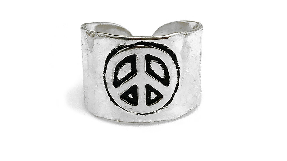 Anju Silver Plated Adjustable Cuff Ring  with Peace Sign
