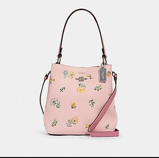 COACH SMALL TOWN BUCKET BAG WITH DANDELION FLORAL PRINT (COACH 2310) PINK