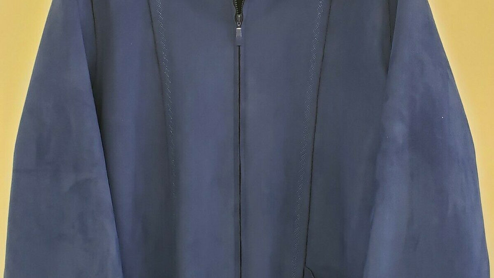 Alfred Dunner Blue Faux Suede Diamond Stitch Accent Front Zip Jacket