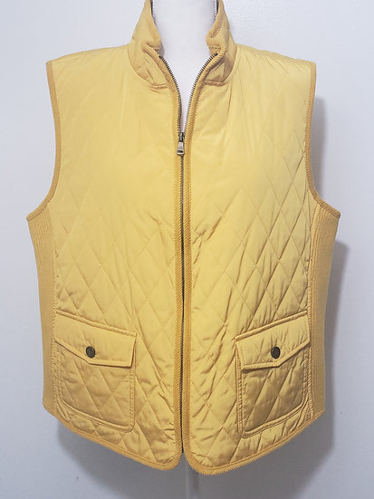 Talbots Yellow Diamond Quilted Zip Front Vest