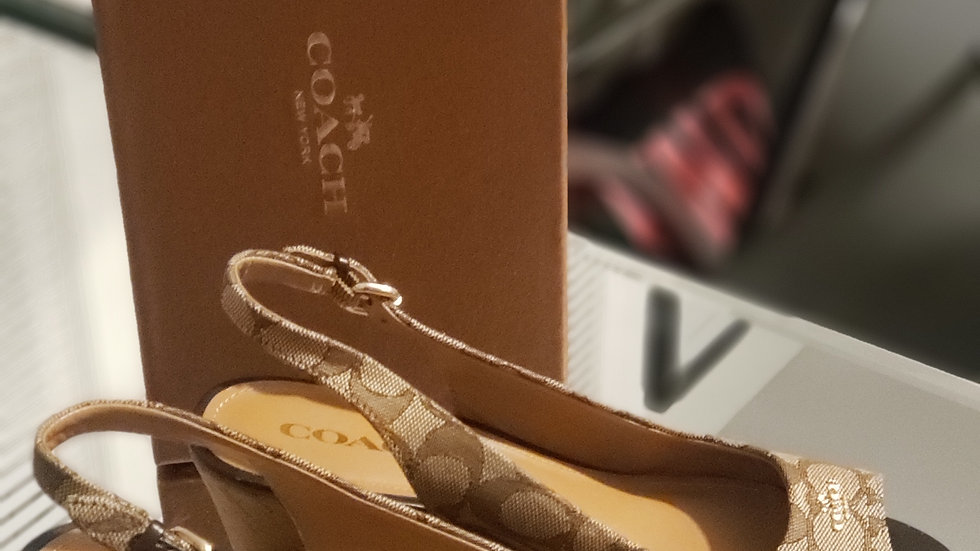 Coach Ferry Logo Wedge Sandals Brown AO1057 Size 8