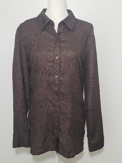 Addition's by Chico's Brown Button Front Collared Long Sleeve Blouse