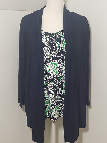 Alfred Dunner 2-N-1 Blue Round Neck Long Sleeve Cotton Blend Top