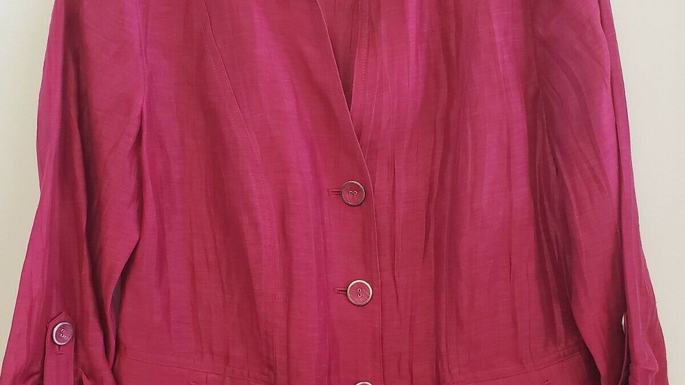 Chico's Pink Belmont Mikhalia Button Front Mock Collar Jacket