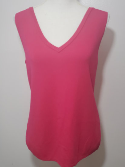 Chico's Pink V Neck Sleeveless Knit Top Shell