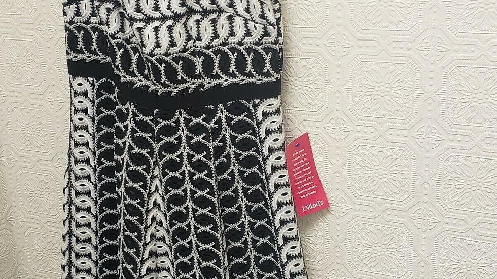 Alex Marie Sheath High Waisted Black White Penelope Embroider Dress