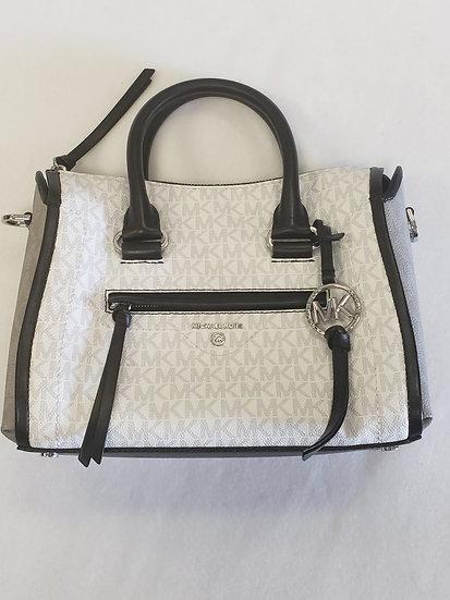 MICHAEL Michael Kors Signature Carine Medium Satchel Bag Black & White