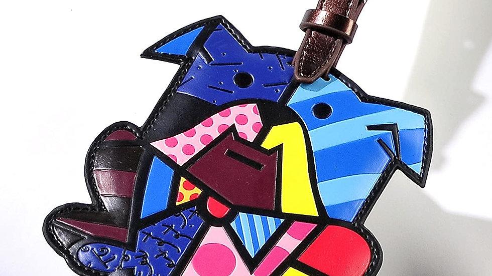 Romero Britto Luggage Tag ID Custom Name (Multicolor/Dog) New