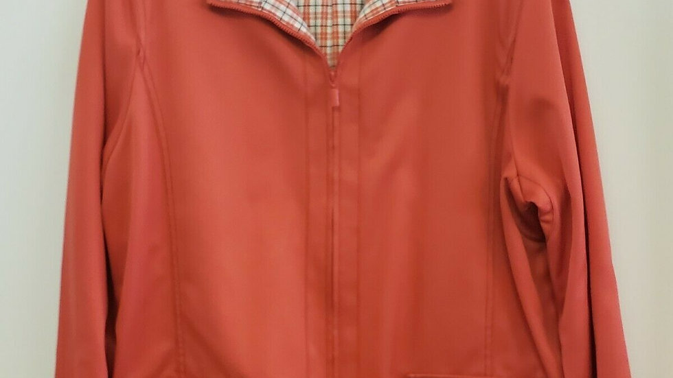 Alfred Dunner Orange Checkered Lining Zip Front All Seasons Jacket