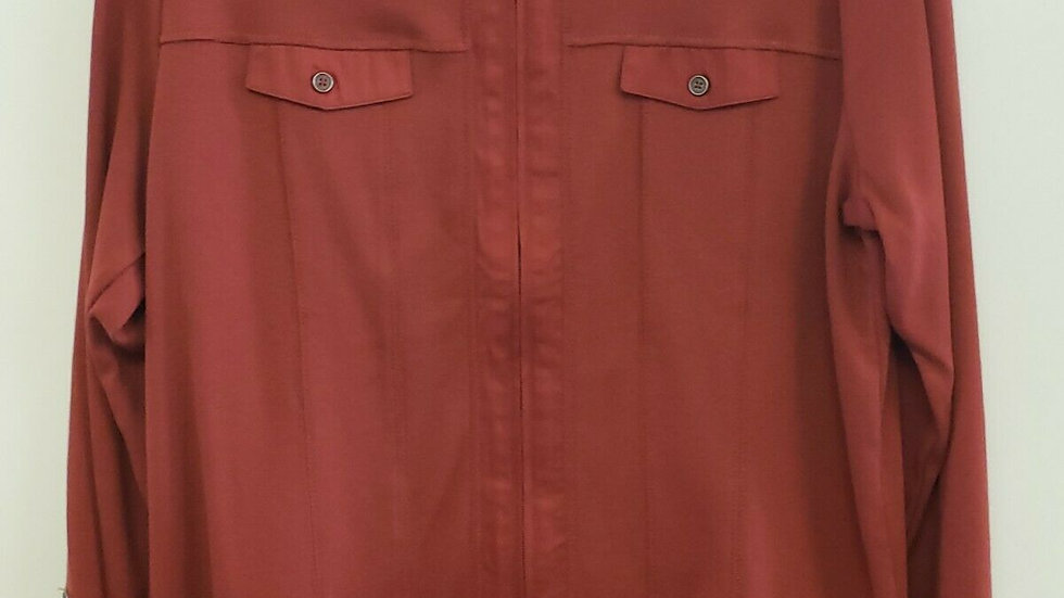 Christopher Banks Rust Red Zip Front Long Sleeve Top Light Weight Jacket