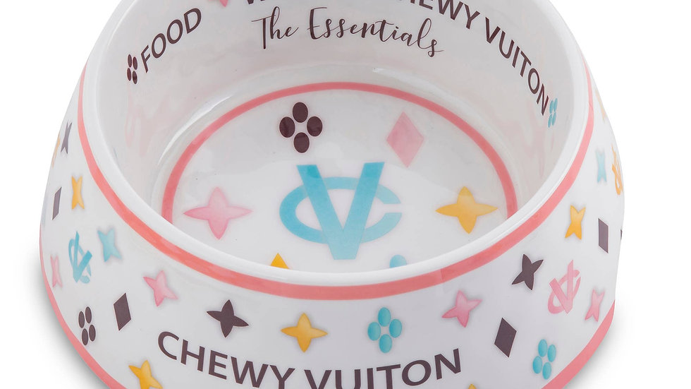 White Chewy Vuiton Dog Bowl
