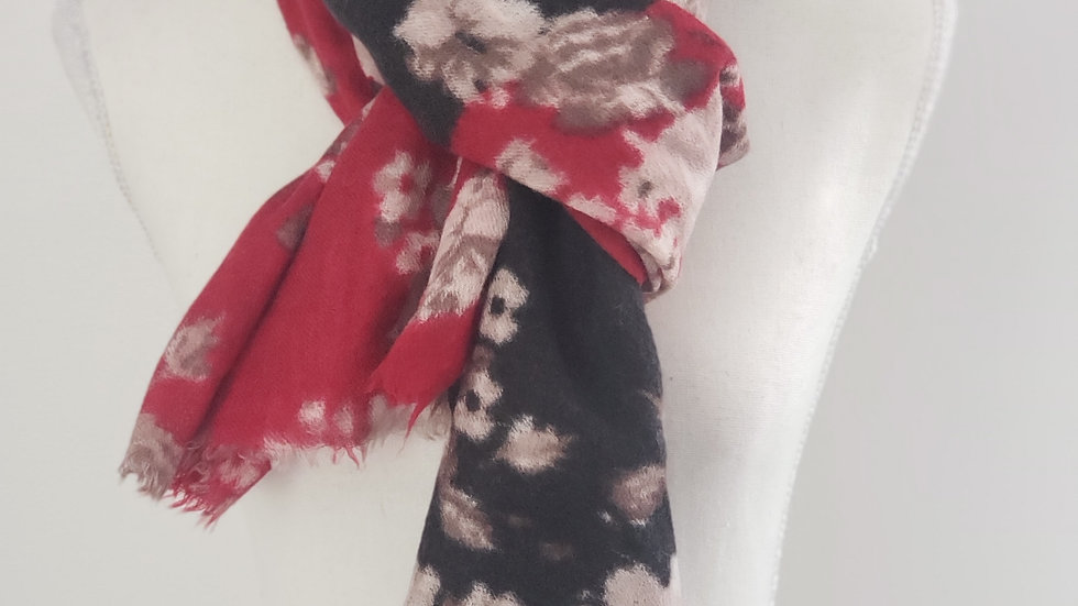 J. Jill Mixed Floral Wool Frayed Edge Scarf Wrap Red / Black