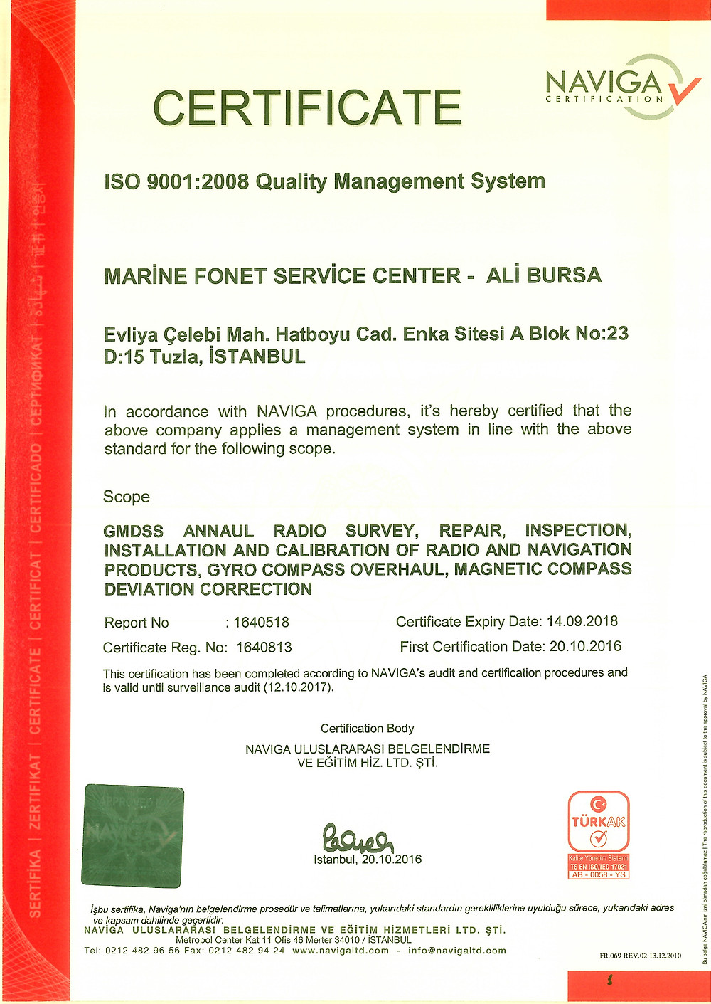 ISO 9001 2008 QUALIT CERTIFICATE
