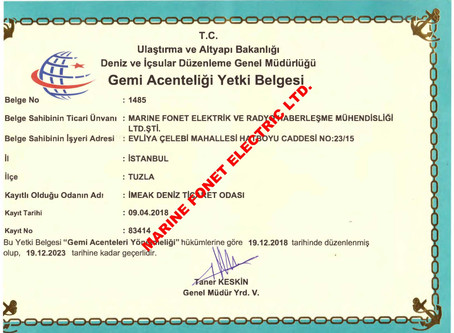 SHIPPING AGENCY CERTIFICATE