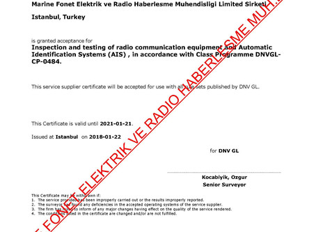 DNV-GL RADIO-AIS SERVICE SUPPLIER CERTIFICATE