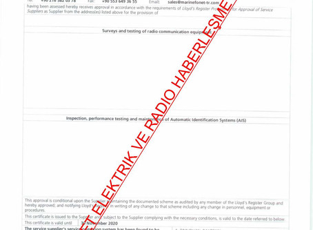 LLOYD REGISTER RADIO/AIS/SSAS/LRIT  SERVICE SUPPLIER CERTIFICATE