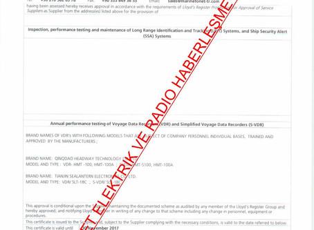 LLOYD REGISTER VDR/SVDR  SERVICE SUPPLIER CERTIFICATE