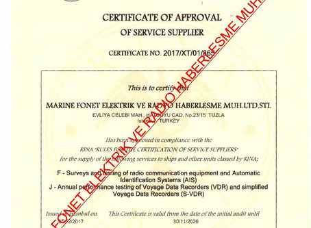 RINA CLASS RADIO AND AIS APPROVAL CERTIFICATE