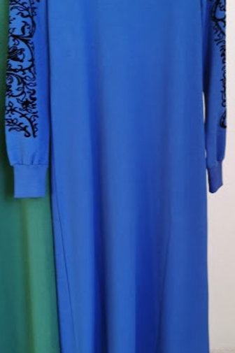 2 İplik Kumaş Nakış Baskılı Elbise
