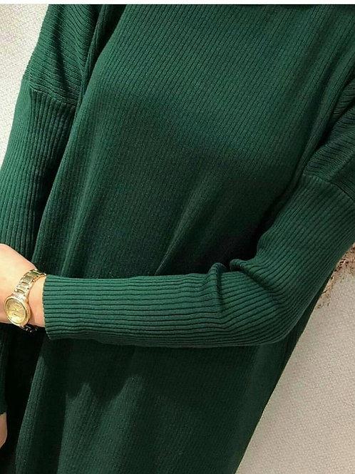 Pamuk Dokuma Fitilli Triko Elbise Koyu yeşil