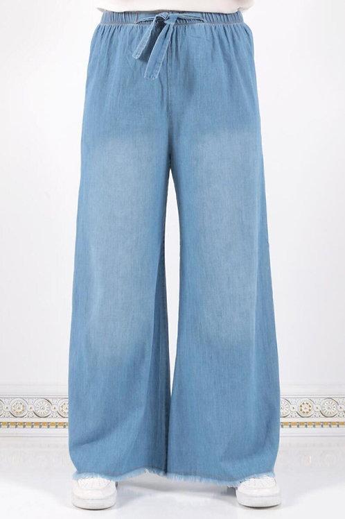 Kadın  Açık Mavi Beli Lastikli Bol Paça Pantolon