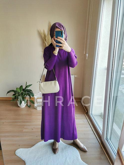 Mor Fitilli Triko Elbise