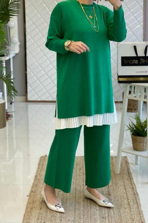 Çelik Örme Triko Takım Yeşil