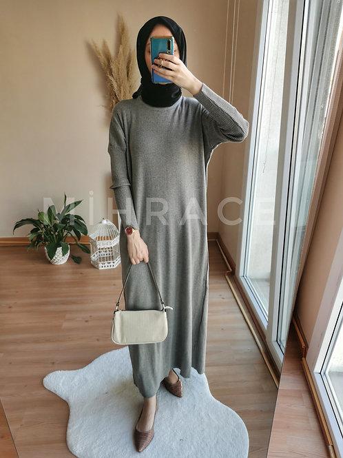 Gri Fitilli Triko Elbise