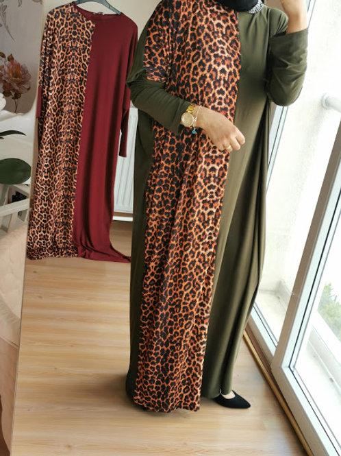 Sandy Kumaş Leopar Detay Elbise