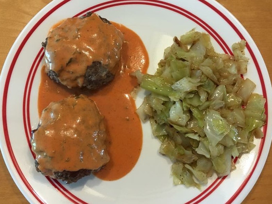 Cheese-Stuffed Burgers with Tomato Cream Sauce