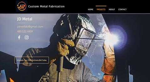 JD Metal website - welder with contact informtion