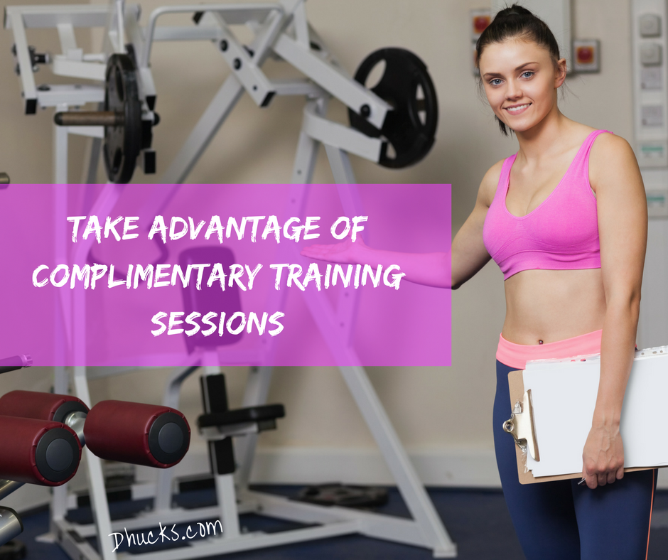"""young female personal trainer welcoming you to an exercise machine. Post quote """"take advantage of complimentary training sessions"""