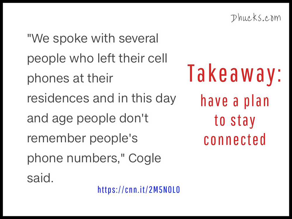 """""""...people who left their cell phones...don't remember people's phone numbers"""" quote from police in Redding CA"""