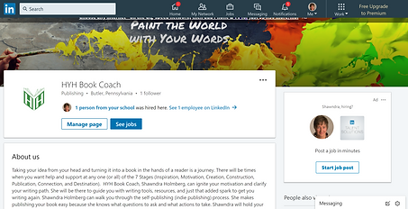 LinkedIn Company page for HYH Book Coach