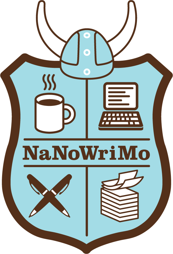 shield and Nordic helmit - cup of coffee in the upper left quadrant, lap top in the upper right, stack of paper in the lower right, and crossed pens in the lower left - NaNoWriMo