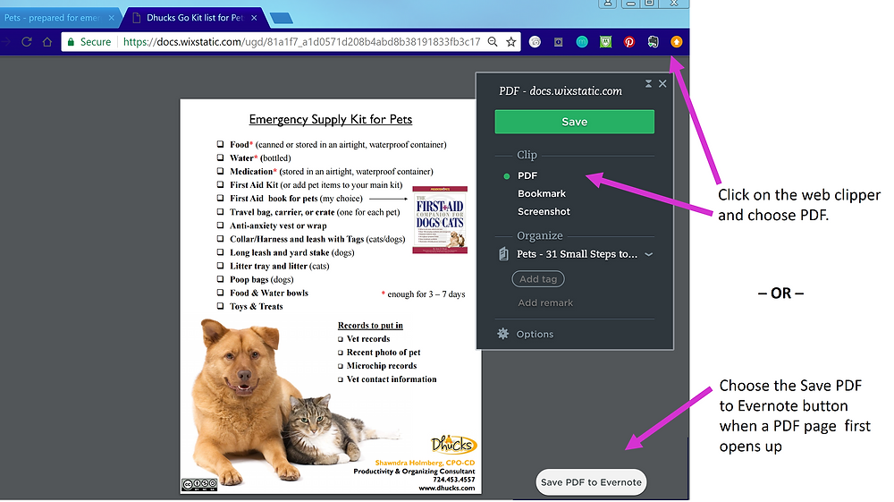 example pdf that can be clipped by Evernote - Dhucks' Emergency Supply Kit for Pets