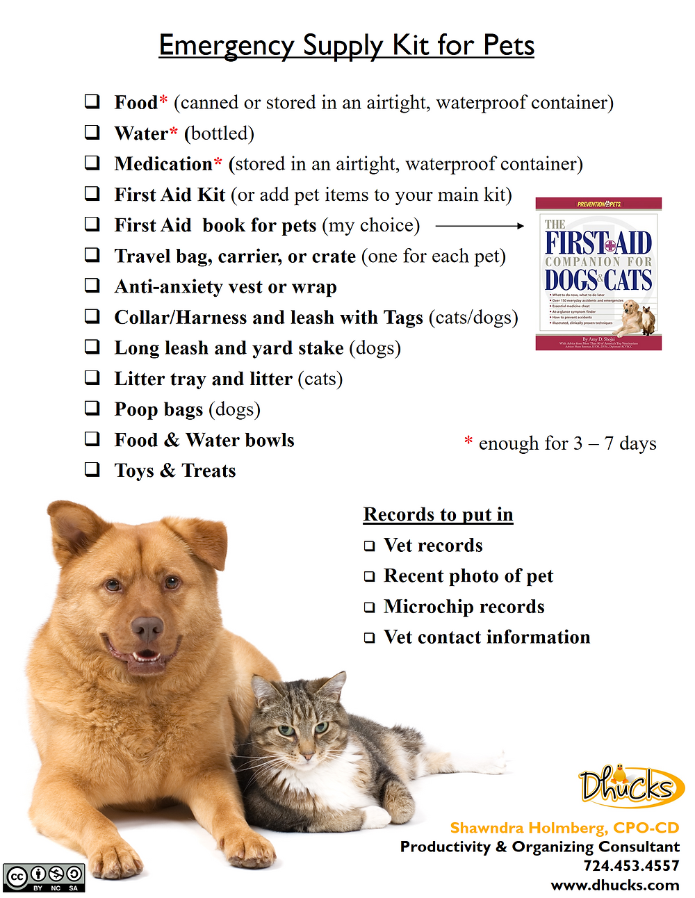 Click and use promo code FREE to download a copy of the Emergency Supply Kit list for Pets