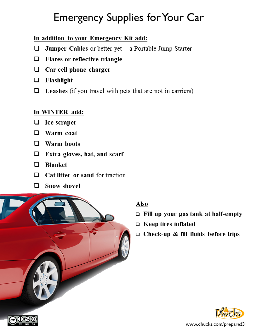 Emergency Supplies for your Car