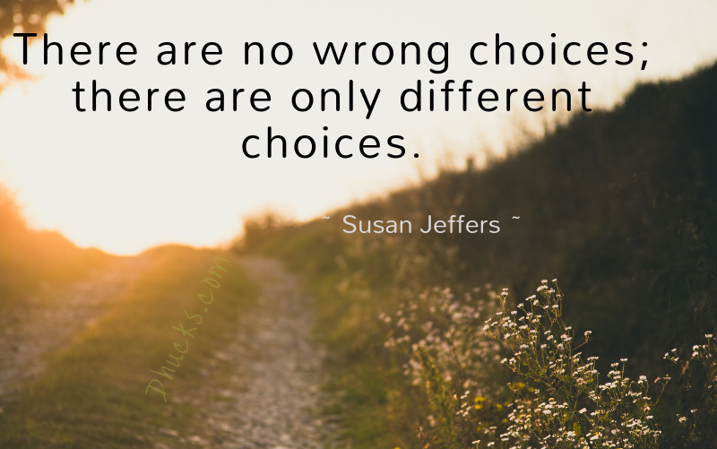 Quote: There are no wrong choices; there are only different choices. by Susan Jeffers