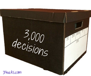 A file storage box can hold 3000 decisions
